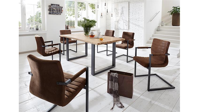 Tischgruppe MIAMI BEACH PARZIVAL Eiche massiv antik braun