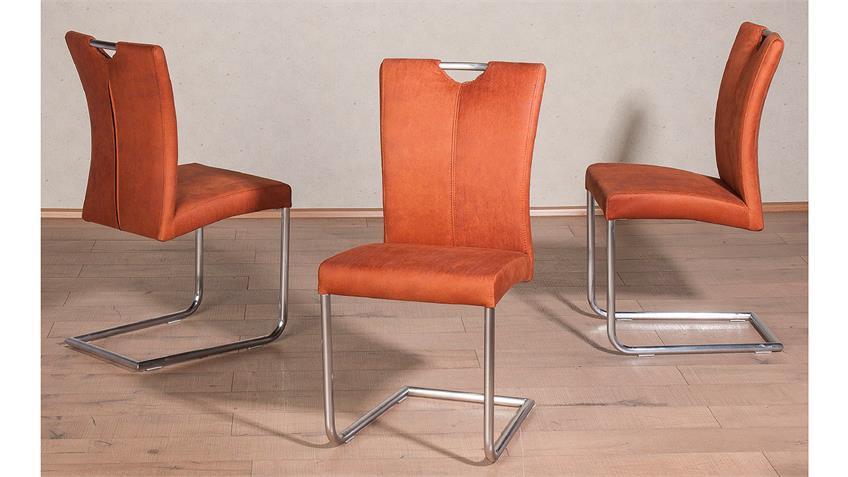 Schwingstuhl HEIKE 2er-Set Freischwinger in cognac orange