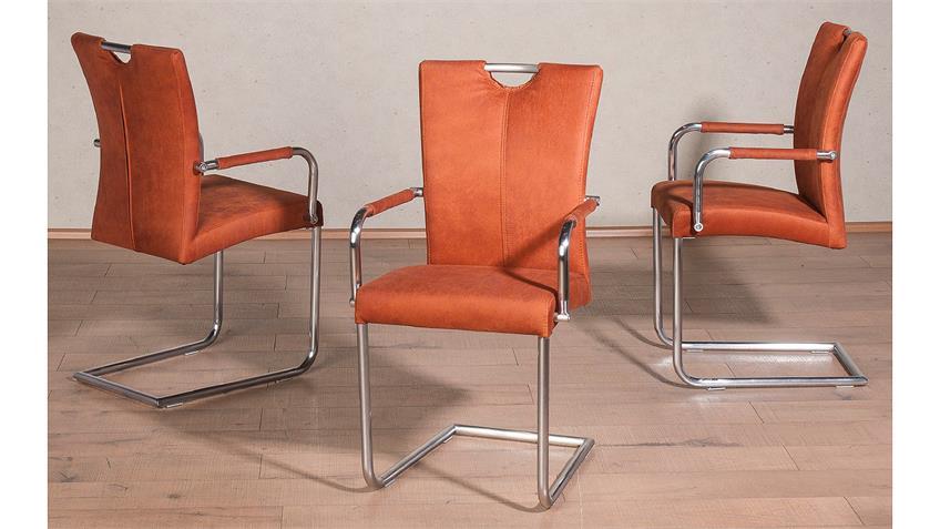 Schwingstuhl HEIKE 2er-Set in cognac orange mit Armlehne