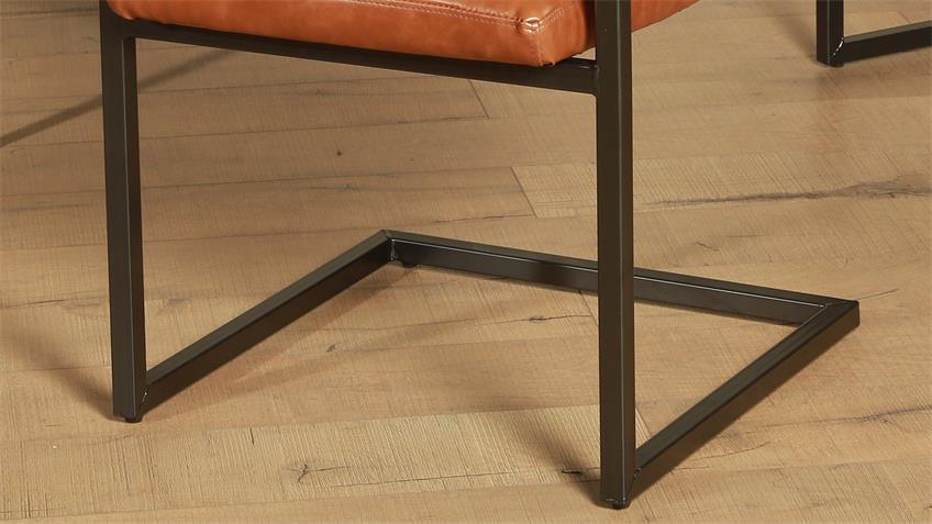 Stuhl PARZIVAL 4er-Set cognac Eisen grau mit Armlehne