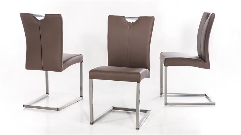 Schwingstuhl QUEENS 2er-Set Stuhl braun Gestell Eisen