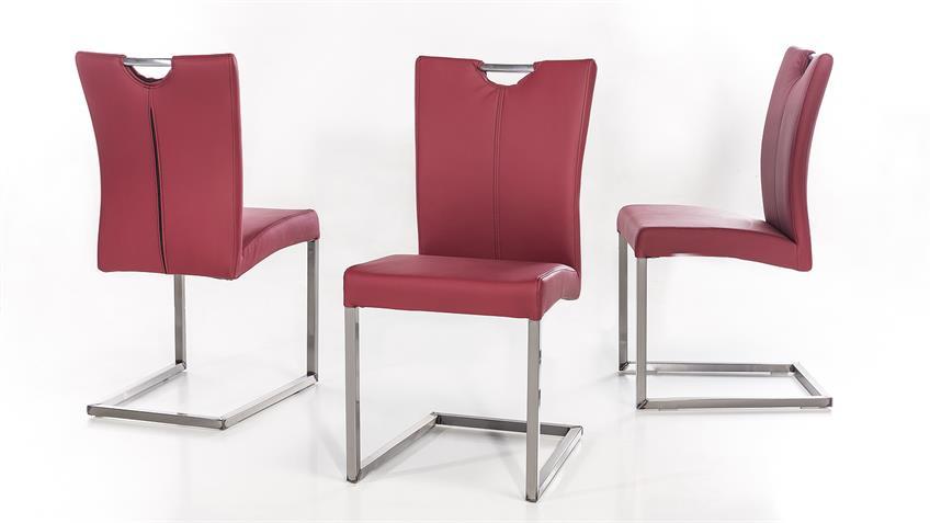 Schwingstuhl QUEENS 2er-Set Stuhl bordeaux Gestell Eisen