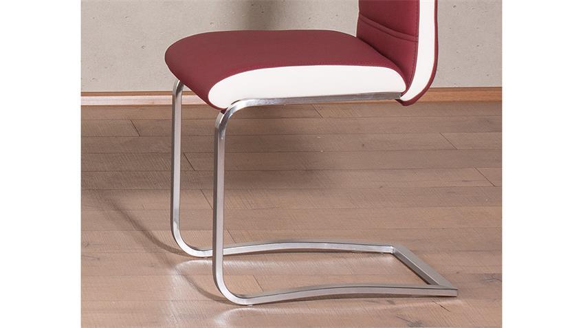 Schwingstuhl NICOLAS 4er-Set Esszimmerstuhl bordeaux weiß