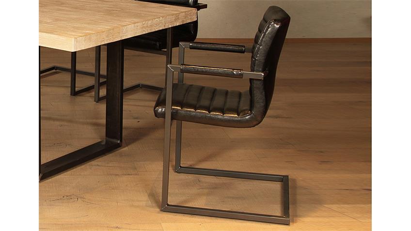 Stuhl parzival 2er set schwarz eisen grau mit armlehne - Stuhl mit armlehne grau ...