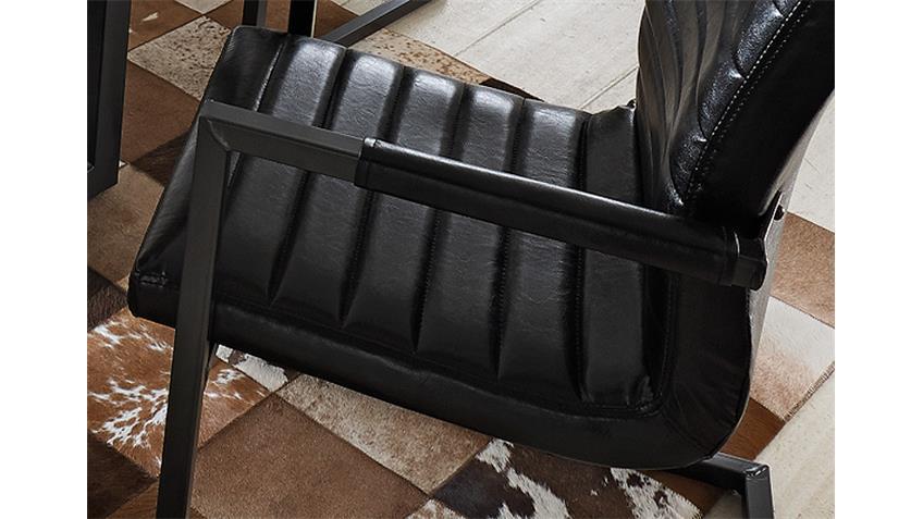 Schwingstuhl Parzival 2er Set schwarz mit Metall Armlehnen