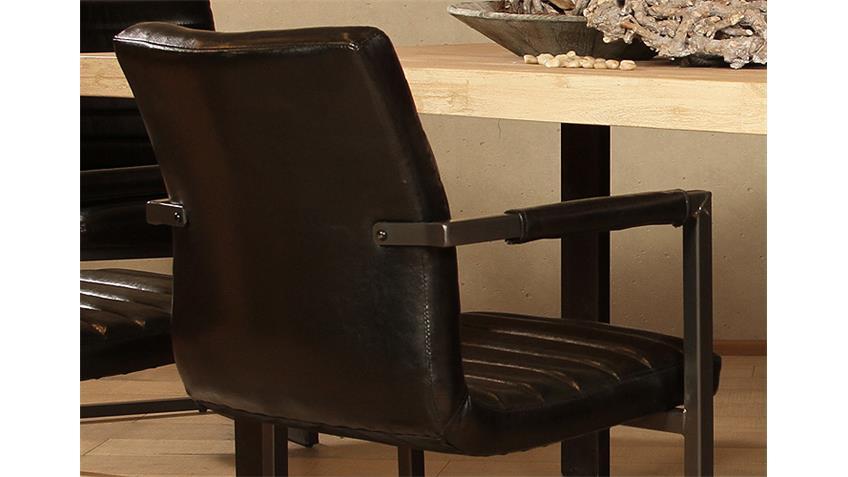 Stuhl PARZIVAL 2er-Set schwarz Eisen grau mit Armlehne