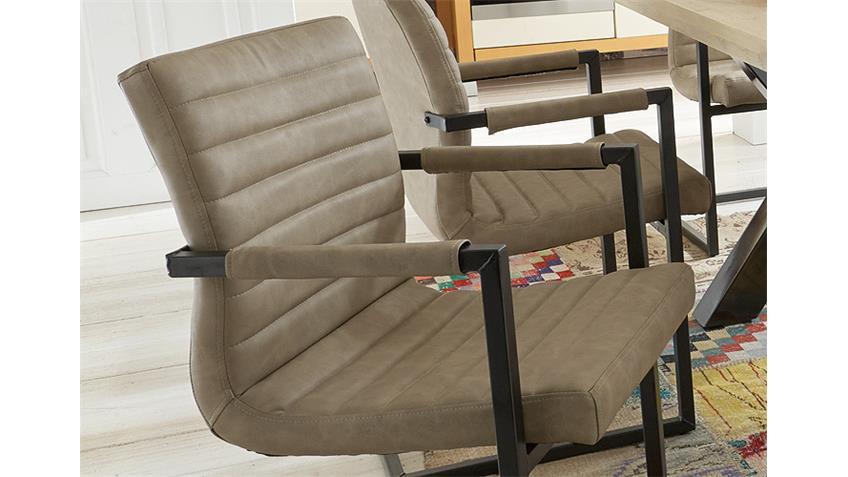 Stuhl PARZIVAL 2er-Set silver Eisen grau mit Armlehne