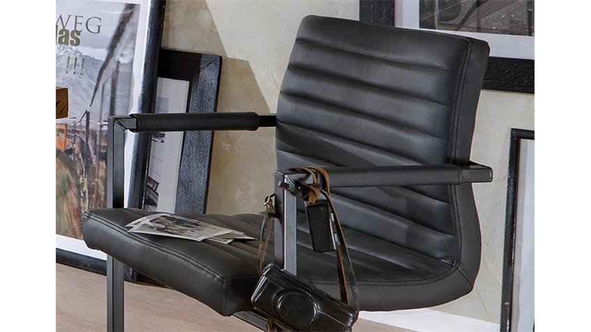 stuhl parzival 2er set anthrazit eisen grau mit armlehne. Black Bedroom Furniture Sets. Home Design Ideas