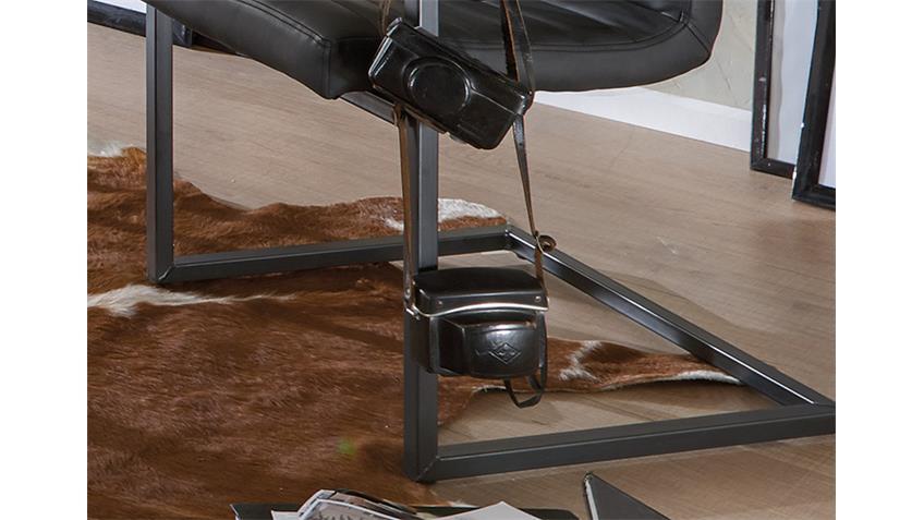 Stuhl PARZIVAL 2er-Set anthrazit Eisen grau mit Armlehne