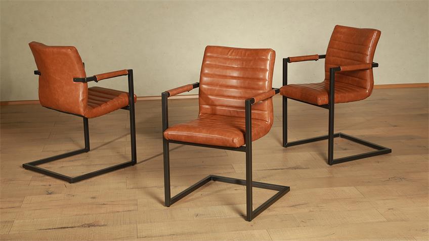 Stuhl PARZIVAL 2er-Set cognac Eisen grau mit Armlehne