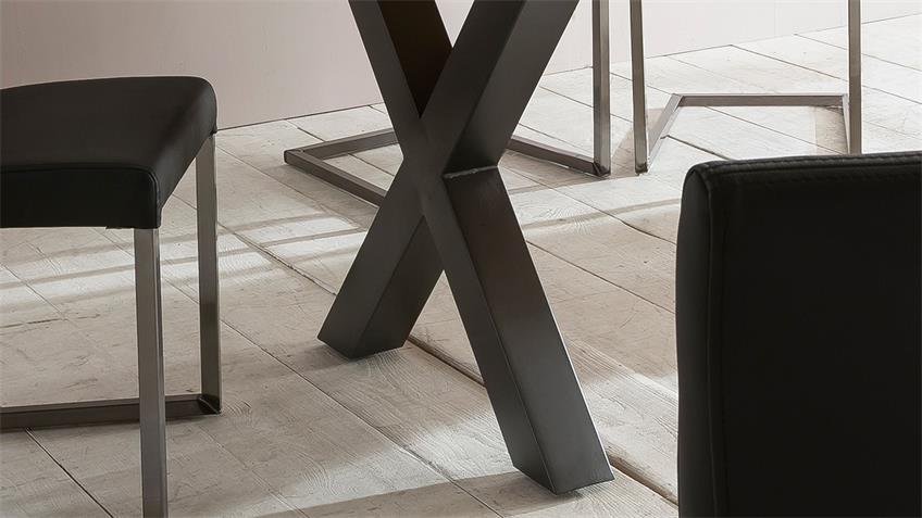 Esstisch BROOKLYN Wildeiche massiv natur Eisen schwarz 180x90