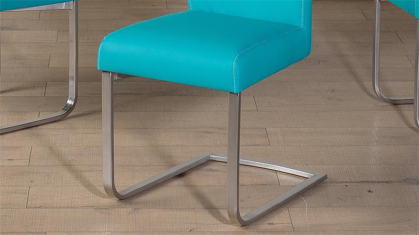 Schwingstuhl LARA 2er-Set Esszimmerstuhl petrol blau