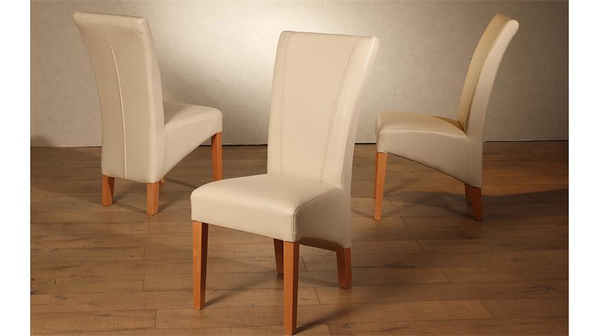 Polsterstuhl LORD 2er-Set Stuhl creme Buche massiv