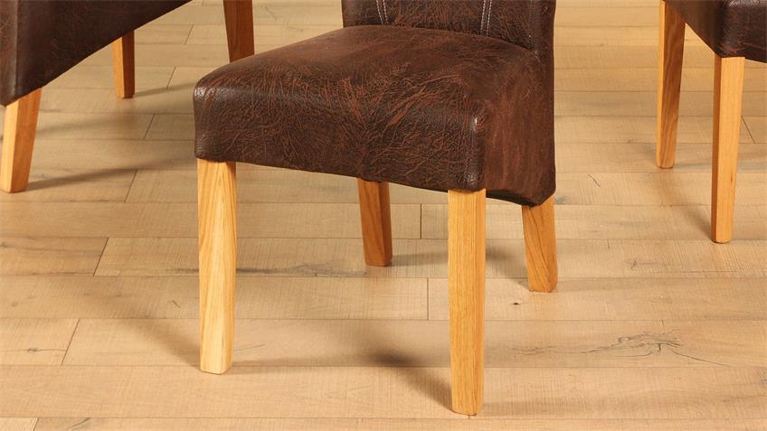 Polsterstuhl LORD 2er-Set Stuhl antik Eiche massiv