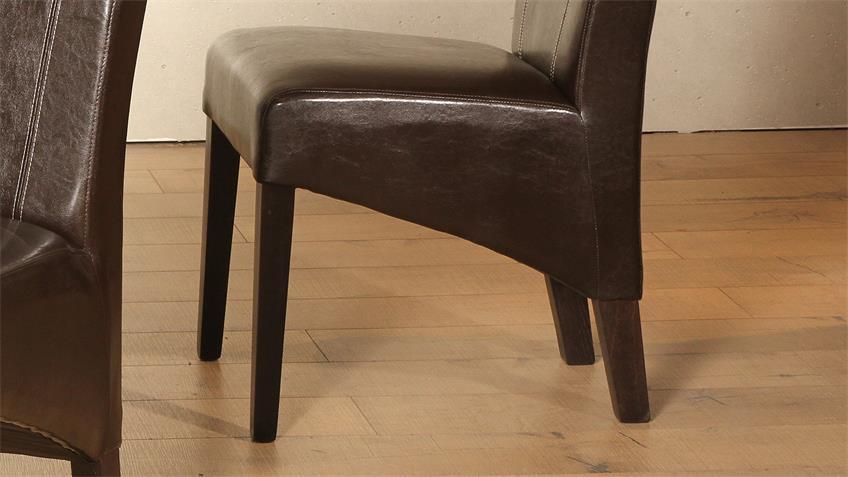 Polsterstuhl LORD 2er-Set Stuhl braun Kolonial massiv
