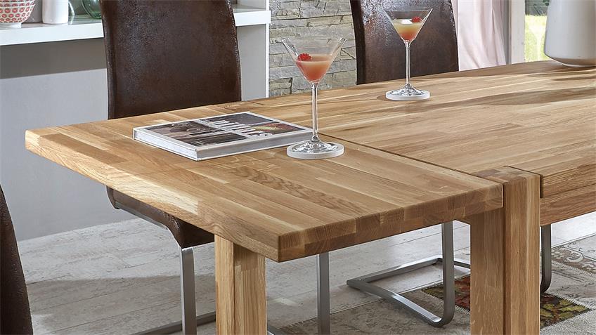 Tischgruppe PAULAS 140 cm Eiche massiv geölt antik 6-tlg