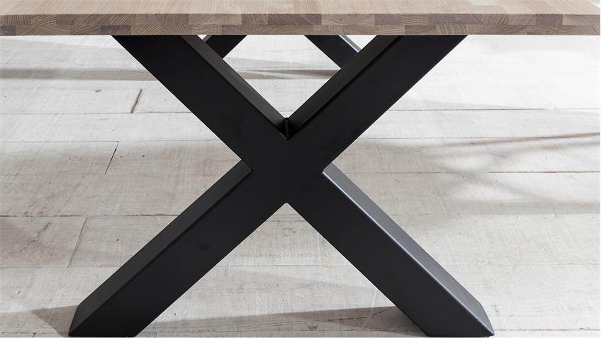 Esstisch MIAMI BEACH Eiche massiv bianco X-Gestell schwarz 180x90