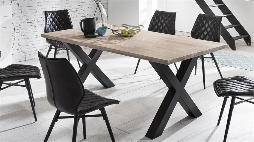 Tischgruppe MIAMI BEACH-X STOCKHOLM Eiche bianco 180 schwarz 5-teilig