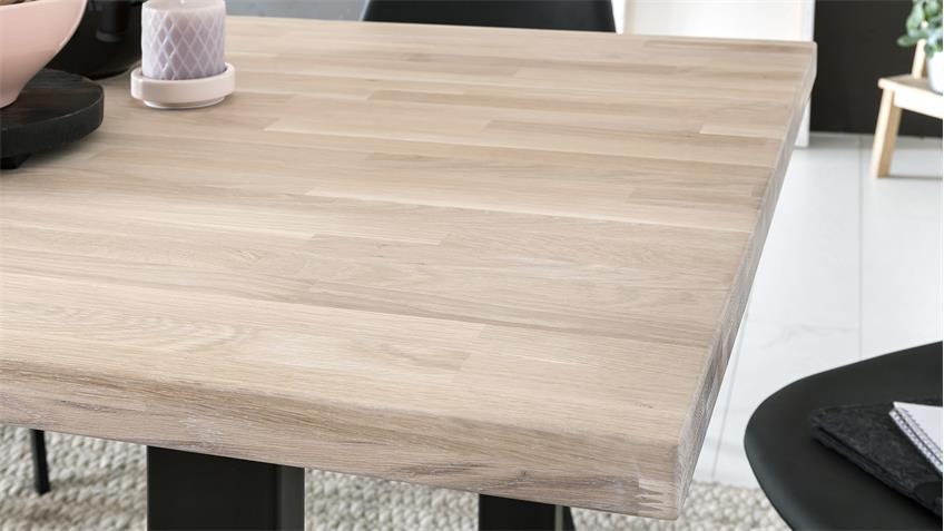 Esstisch MIAMI BEACH Eiche massiv bianco A-Gestell schwarz 200x100