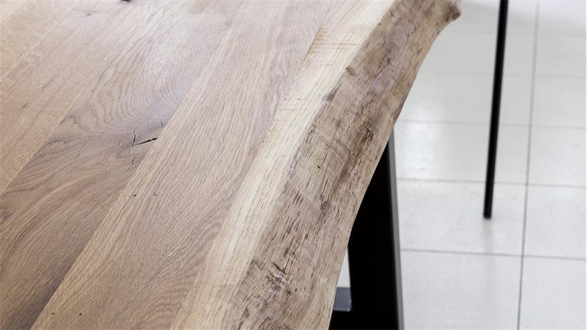 Esstisch TRISTAN Eiche massiv mit Baumkante U-Gestell 160x90