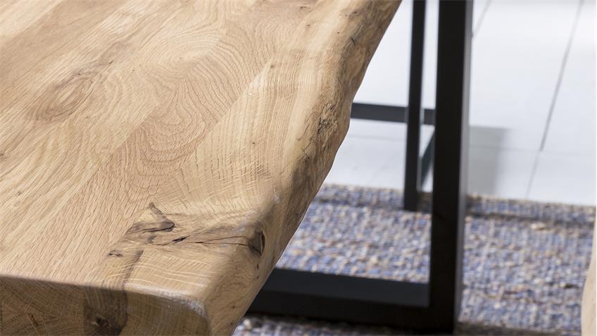 Esstisch TRISTAN Eiche natur mit Baumkante A-Gestell 220x100