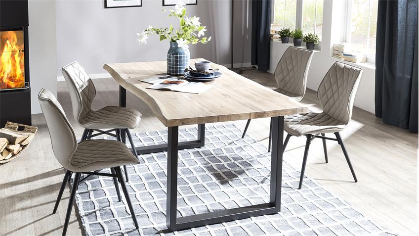 Tischgruppe TRISTAN STOCKHOLM Eiche white mit Baumkante 180