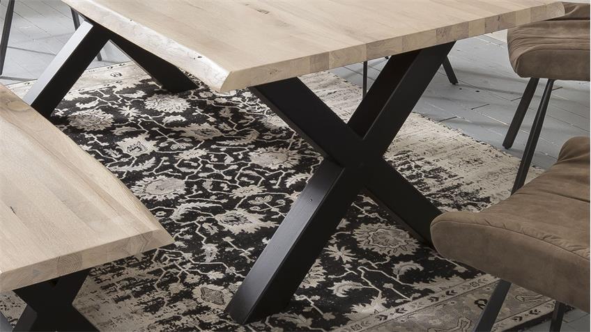 Tischgruppe TRISTAN POLLENCA Eiche white mit Baumkante 5-teilig