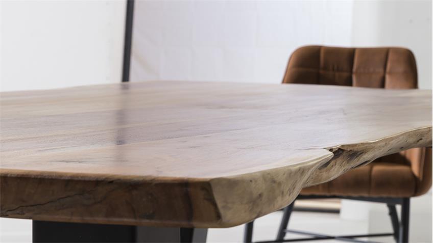 Esstisch MAIN Akazie massiv Baumkante Hairpin-Gestell 160x90