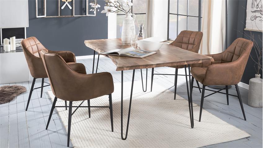 Tischgruppe MAIN LLUC 5-teilig mit Massivholztisch Akazie 160