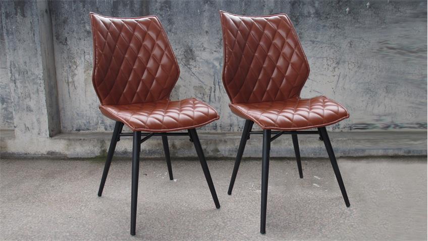 Tischgruppe MAIN STOCKHOLM 5-teilig Akazie 180 Stühle cognac
