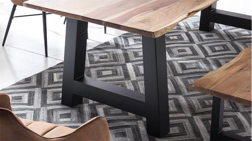 Tischgruppe MAIN PARZIVAL Akazie 200 Stühle anthrazit 5-tlg