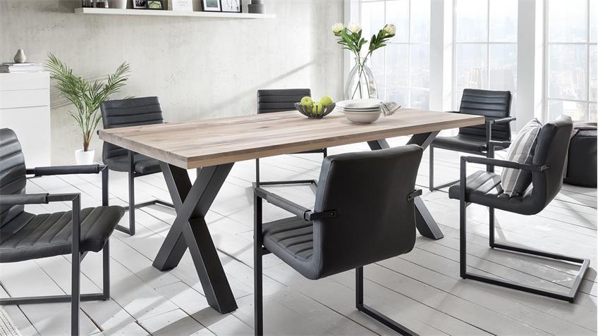 Tischgruppe NEW YORK PARZIVAL 200 Eiche gekälkt 4x Schwingstuhl
