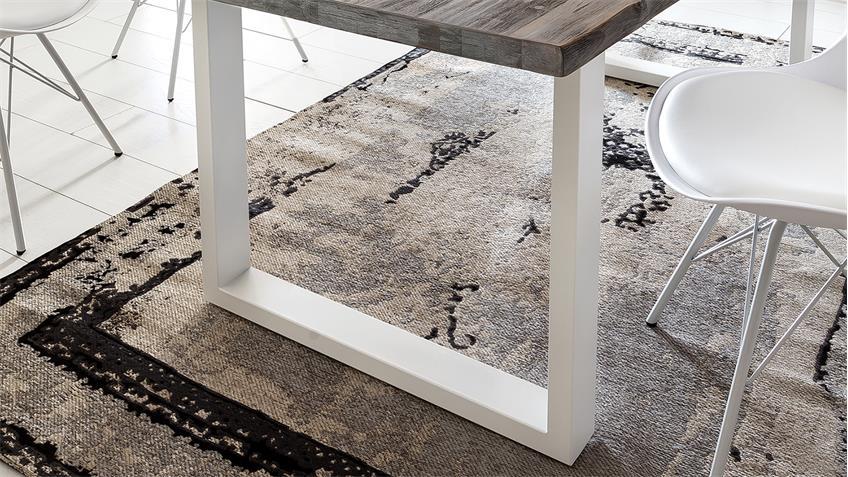 Esstisch MARYLAND Akazie massiv verwittert Baumkante U-weiß 180