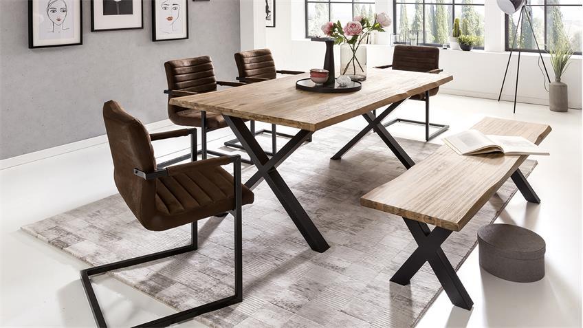 Tischgruppe MARYLAND PARZIVAL 200 Akazie macam Stühle braun 5-tlg