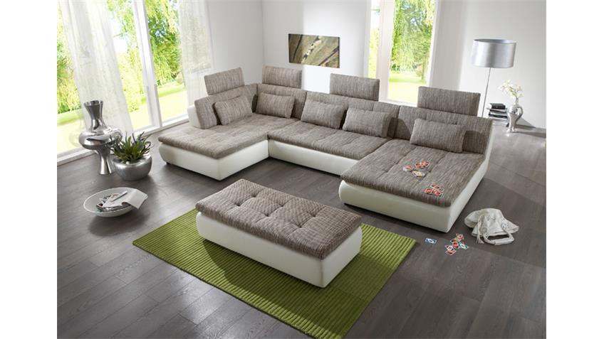 Wohnlandschaft FREE Ecksofa Sofa in weiß hellgrau graphite