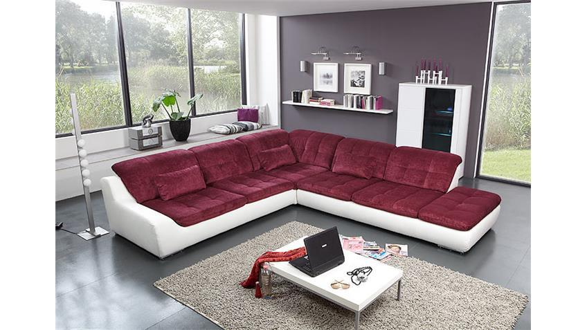 Ecksofa SPIKE Sofa Wohnlandschaft Ottomane links weiß lila
