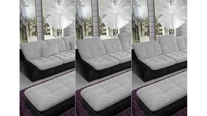 Ecksofa SPIKE Sofa Wohnlandschaft in weiß grau schwarz