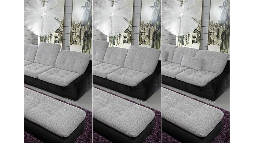 Ecksofa SPIKE Sofa Wohnlandschaft weiß grau schwarz links