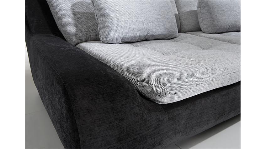 Ecksofa SPIKE Weiß Grau Schwarz Rückenverstellung