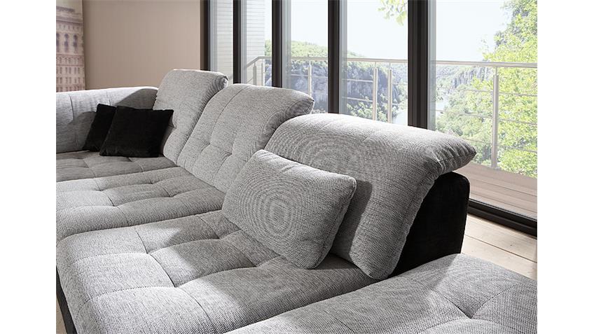 Ecksofa SPIKE Sofa Wohnzimmersofa weiß grau schwarz rechts