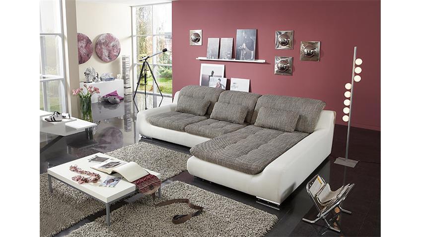 Ecksofa SPIKE Sofa Wohnzimmersofa hellbraun und weiß rechts