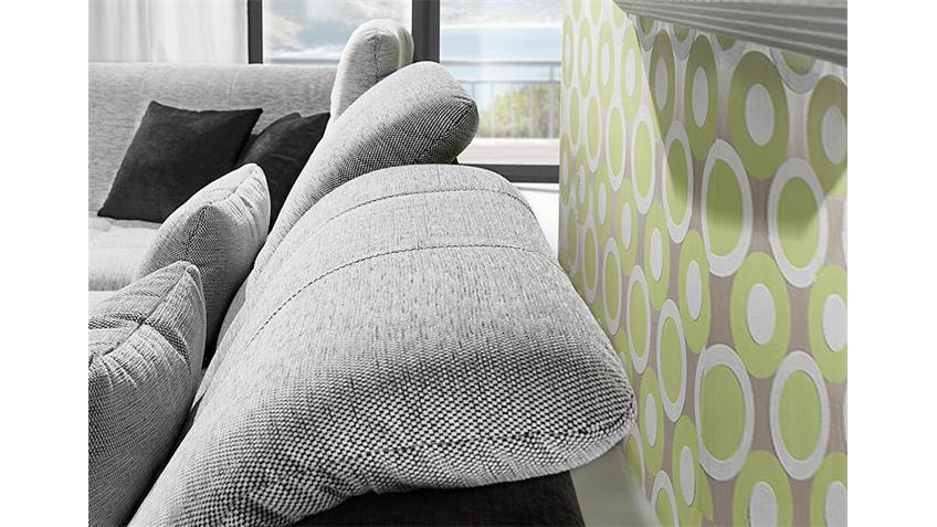 Ecksofa SPIKE Sofa Wohnlandschaft in Stoff weiß grau und schwarz