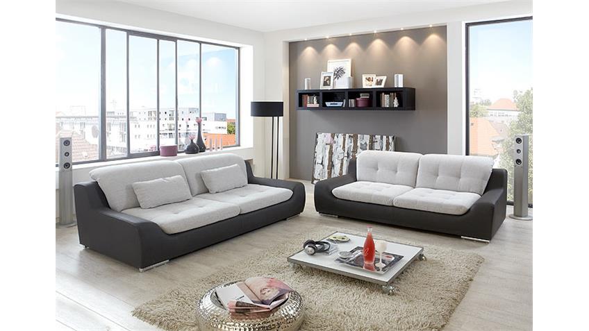 Sofa 2,5er SPIKE Wohnzimmersofa in hellgrau und anthrazit
