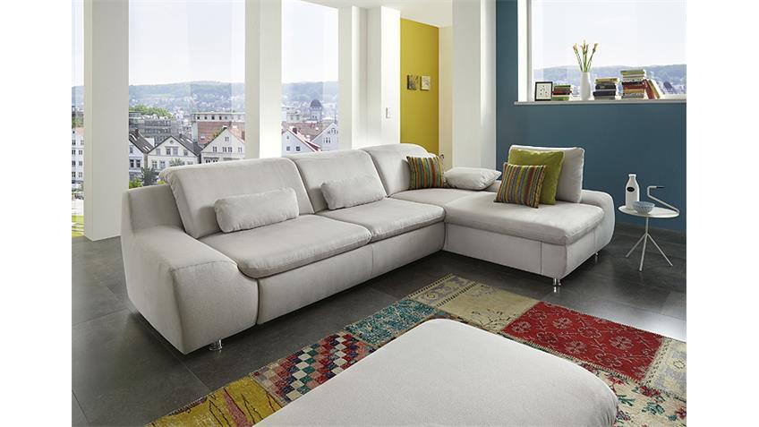 Ecksofa ESPOO Sofa in hellgrau mit Funktionen und Kissen