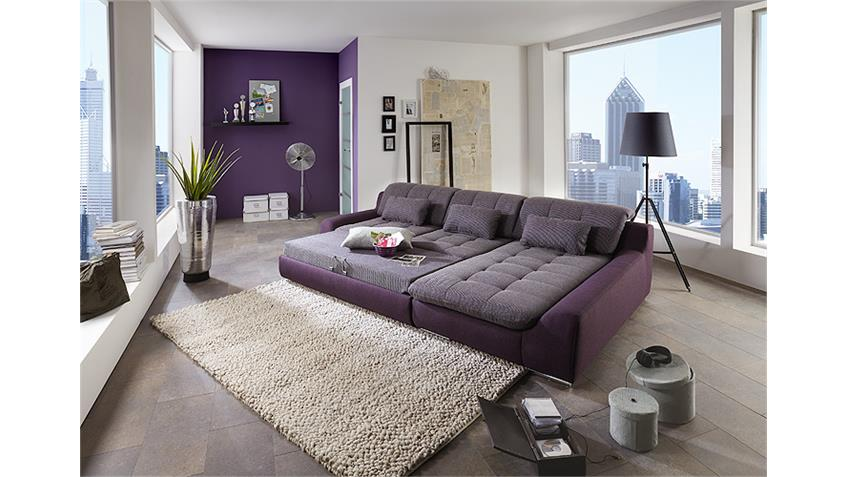 Ecksofa SPIKE Wohnlandschaft Sofa in Purple Aubergine lila