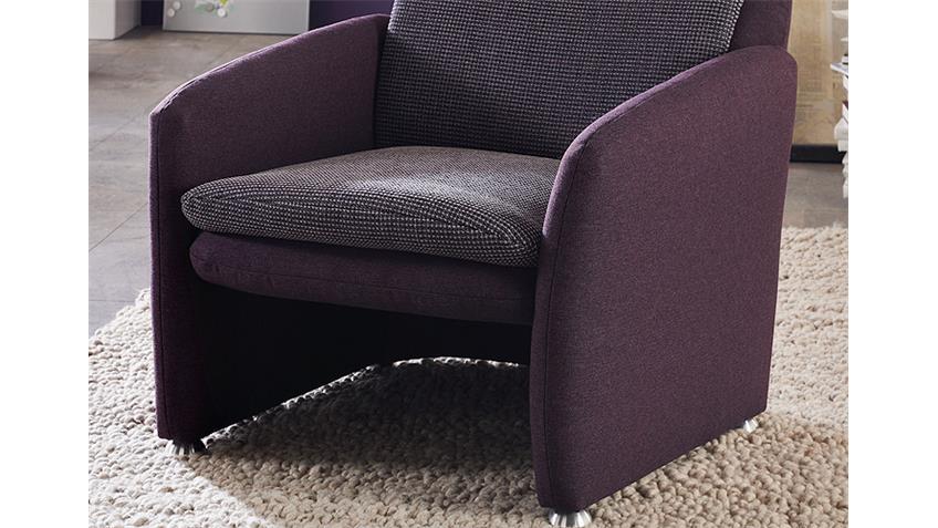 Sessel ENZO TV Sessel Fernsehsessel in Purple Aubergine lila