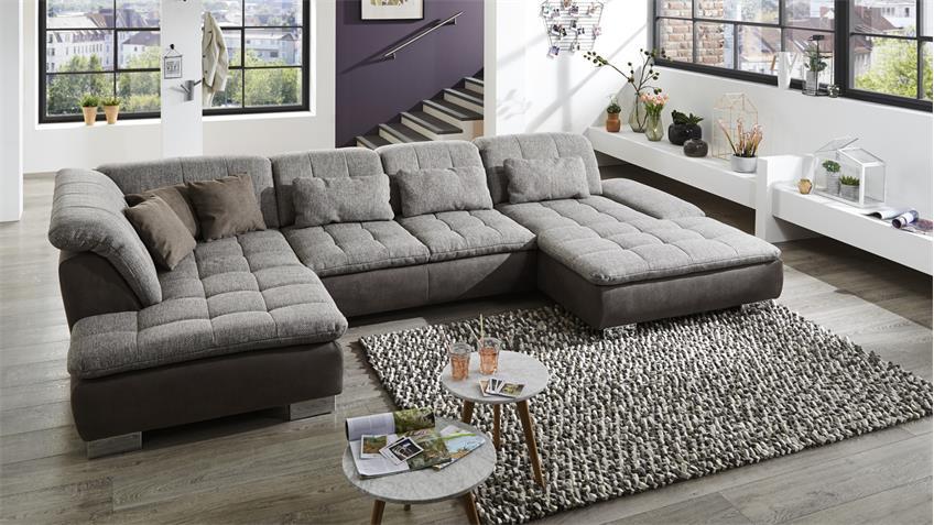 wohnlandschaft linos grau und braun inkl nosagfederung. Black Bedroom Furniture Sets. Home Design Ideas