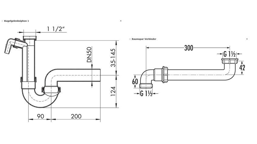 Spülen und Küchen Anschluss Zubehör Siphon 10-teilig Montageset