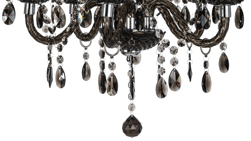 Kronleuchter Acryl ~ Kronleuchter marie krone chromfarbig und acryl schwarz flammig