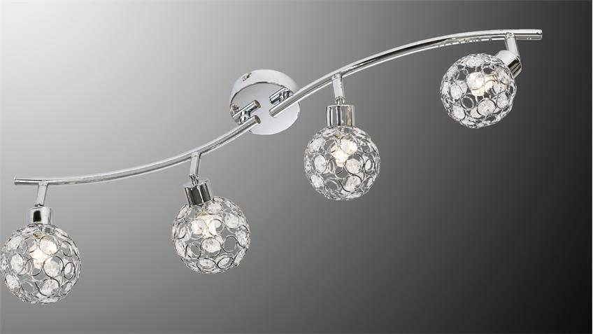 led deckenspot larga chrom metall acryl deko 4 flg mit leuchtmittel. Black Bedroom Furniture Sets. Home Design Ideas